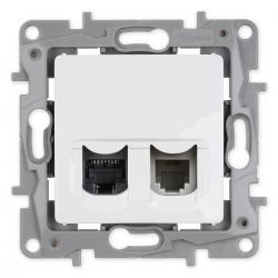Legrand NILOE Gniazdo komputerowo-telefoniczne RJ45+RJ11 do ramki białe 764570