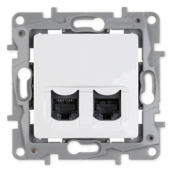 Legrand NILOE Gniazdo komputerowe podwójne 2xRJ45 kat. 6 UTP do ramki białe 764574