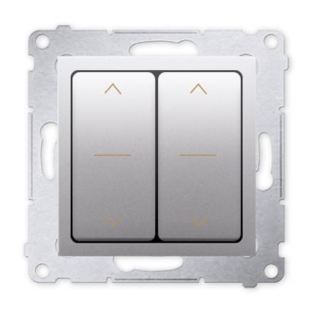 SIMON 54 Wyłącznik łącznik podwójny żaluzjowy trójpozycyjny 1-0-2 do ramki srebrny mat DZW2.01/43