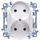 SIMON 10 Gniazdo podwójne bez uziemienia do ramki białe CG2M.01/11