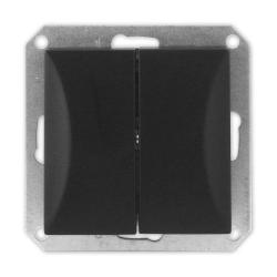 TIMEX OPAL Wyłącznik łącznik podwójny świecznikowy do ramki czarny mat WP-2/m Op CZ/MAT