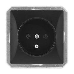 TIMEX OPAL Gniazdo pojedyncze z uziemieniem do ramki czarny mat GPt-16/m Op CZ/MAT