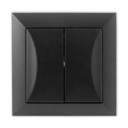 TIMEX OPAL Wyłącznik łącznik schodowy podwójny czarny mat WP-5/2 Op CZ/MAT