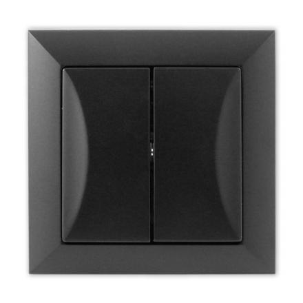 TIMEX OPAL Wyłącznik łącznik schodowy podwójny CZARNY MAT