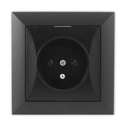TIMEX OPAL Gniazdo pojedyncze z uziemieniem czarny mat GPt-16 Op CZ/MAT