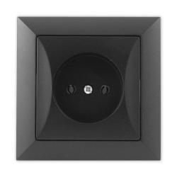 TIMEX OPAL Gniazdo pojedyncze bez uziemienia czarny mat GPt-15 Op CZ/MAT