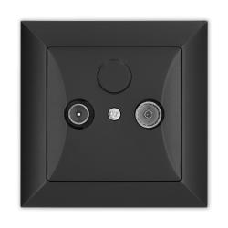 TIMEX OPAL Gniazdo abonenckie RTV końcowe czarny mat