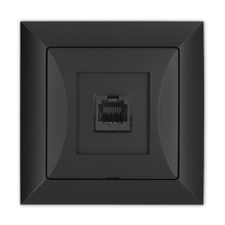 TIMEX OPAL Gniazdo komputerowe RJ45 8pin zacisk krone LSA+ czarny mat GTP-12 Op CZ/MAT