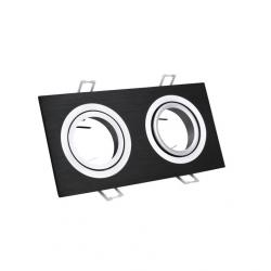 Oprawa oprawka halogenowa kwadrat kwadratowa podwójna ruchoma ALU czarna