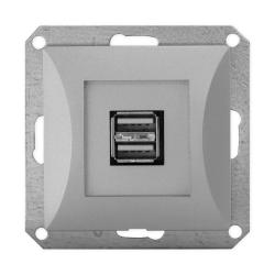 TIMEX OPAL Gniazdo ładowarka USB podwójna do ramki srebrna GŁ/USB-2/m Op SR