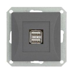 TIMEX OPAL Gniazdo ładowarka USB podwójna do ramki grafit GŁ/USB-2/m Op GR