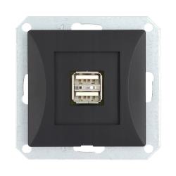 TIMEX OPAL Gniazdo ładowarka USB podwójna do ramki czarny mat GŁ/USB-2/m Op CZ/MAT