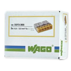 WAGO Szybkozłączka na drut 5x0,5-2,5mm² transparentna 2273-205 opak. 100szt.