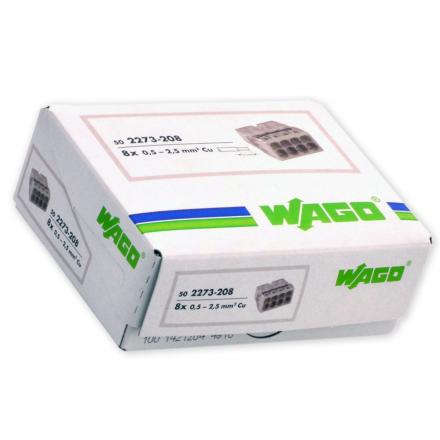 WAGO Szybkozłączka na drut 8x0,5-2,5mm² transparentna 2273-208 opak. 50szt