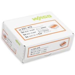 WAGO Szybkozłączka uniwersalna 3x0,2-4mm² transparentna 221-413 opak. 50szt.