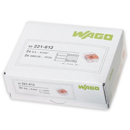 WAGO Szybkozłączka uniwersalna 2x0,5-6mm² transparentna 221-612 opak. 50szt.