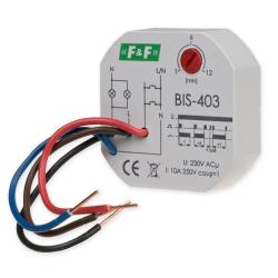 F&F Przekaźnik bistabilny z wyłącznikiem czasowym do puszki 1Z 10A 230V AC BIS-403