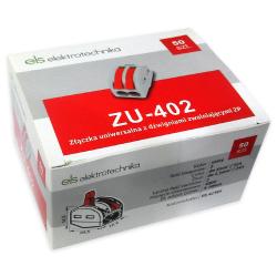 ELS Szybkozłączka uniwersalna 2x0,08-4mm² z dźwigniami zwalniającymi ZU-402 opak. 50 szt.