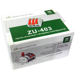 ELS Szybkozłączka uniwersalna 3x0,08-4mm² z dźwigniami zwalniającymi ZU-403 opak. 50 szt.