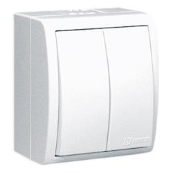SIMON AQUARIUS Wyłącznik łącznik podwójny natynkowy hermetyczny IP54 biały AQW5/11