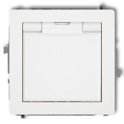KARLIK DECO Gniazdo pojedyncze hermetyczne Z/U klapka do ramki białe DGPB-1z