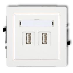 KARLIK DECO Gniazdo podwójne USB 2.0 białe DGUSB-2