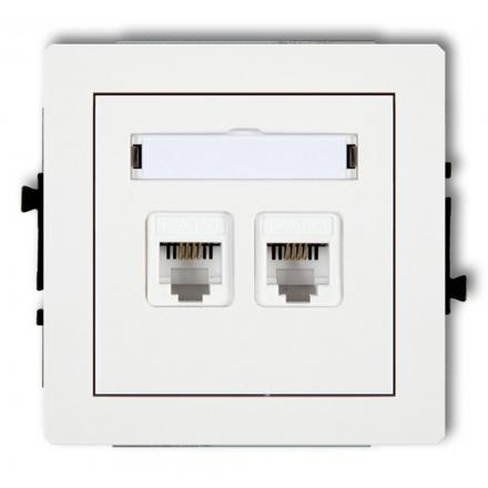 KARLIK DECO Gniazdo podwójne telefoniczne 2xRJ11 białe DGT-2