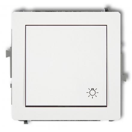 """KARLIK DECO Przycisk łącznik zwierny pojedynczy """"światło"""" do ramki biały DWP-5"""