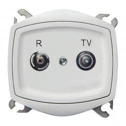 [OUTLET] OSPEL TON Gniazdo antenowe RTV przelotowe do ramki białe GPA-10CP/m/00 WW679