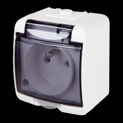 KARLIK JUNIOR Gniazdo pojedyncze z klapką dymną Z/U natynkowe IP54 białe GHE-1d