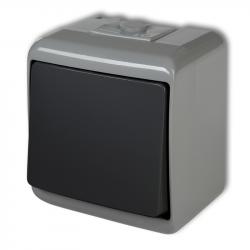 KARLIK JUNIOR Łącznik pojedynczy natynkowy IP54 popielaty/grafitowy 30WHE-1