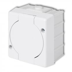 KARLIK SENIOR Gniazdo pojedyncze z klapką Z/U natynkowe IP44 białe GHS-1