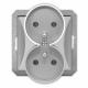 TIMEX OPAL Gniazdo podwójne z uziemieniem do ramki srebrne GPt-6/m Op SR