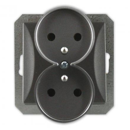 TIMEX OPAL Gniazdo podwójne z uziemieniem do ramki grafitowe GPt-6/m Op GR