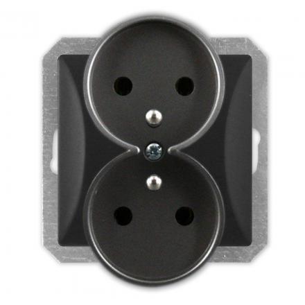 TIMEX OPAL Gniazdo podwójne z uziemieniem do ramki czarny mat GPt-6/m Op CZ/MAT