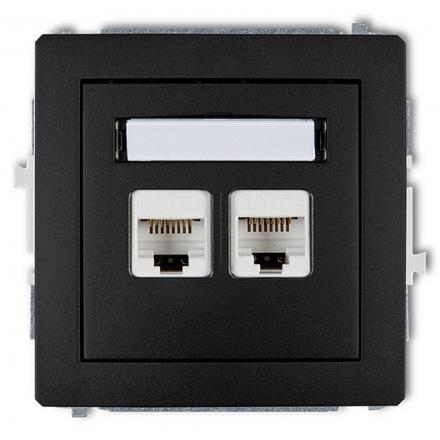 KARLIK DECO Gniazdo komputerowe podwójne 2xRJ45 czarny mat 12DGK-2