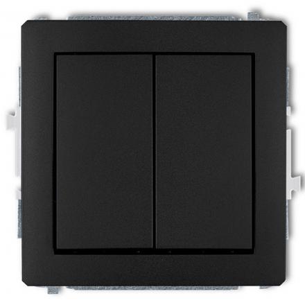 KARLIK DECO Przycisk łącznik zwierny podwójny do ramki czarny mat 12DWP-44.1