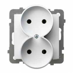 OSPEL AS Gniazdo podwójna b/u do ramki białe GP-2GR/m/00