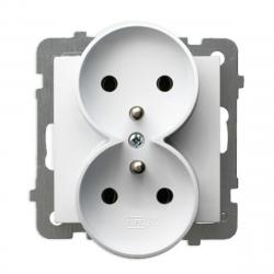 OSPEL AS Gniazdo podwójne z/u do ramki białe GP-2GRZ/m/00