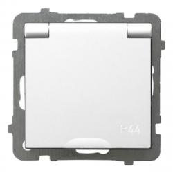 OSPEL AS Gniazdo hermetyczne IP44 z klapką z/u do ramki białe GPH-1GZ/m/00/w