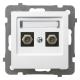 """OSPEL AS Gniazdo antenowe podwójne typ """"F"""" do ramki białe GPA-2GF/m/00"""