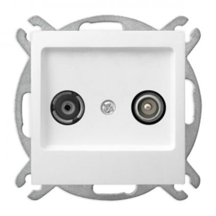 OSPEL AS Gniazdo antenowe RTV końcowe do ramki białe GPA-GK/m/00