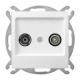 OSPEL AS Gniazdo antenowe RTV przelotowe do ramki białe GPA-10GP/m/00