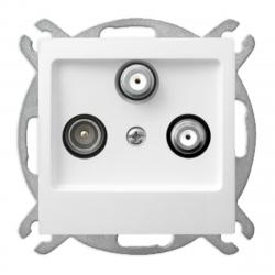 OSPEL AS Gniazdo antenowe RTV-SAT-SAT do ramki białe GPA-G2S/m/00