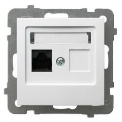 OSPEL AS Gniazdo komputerowe RJ-45 pojedyncze do ramki białe GPK-1G/K/m/00