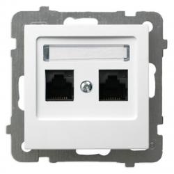 OSPEL AS Gniazdo komputerowe 2xRJ-45 podwójne do ramki białe GPK-2G/K/m/00