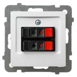 OSPEL AS Gniazdo głośnikowe podwójne do ramki białe GG-2G/m/00