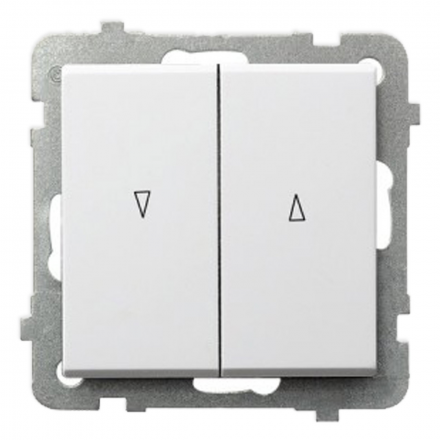OSPEL SONATA Przycisk łącznik żaluzjowy zwierny 2-klawisze góra-dół biały ŁP-7R/m/00