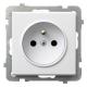 OSPEL SONATA Gniazdo pojedyncze z uziemieniem do ramki białe GP-1RZ/m/00