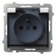 OSPEL SONATA Gniazdo bryzgoszczelne z uziemieniem IP-44 białe wieczko dymne GPH-1RZ/m/00/d